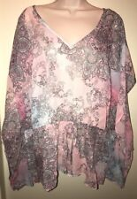 IZ BYER CALIFORNIA Juniors' Sheer Cinch-Waist Top PINK MULTI PRINT Size 2X NWT