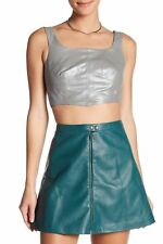 $225. MUUBAA Womens Small Size 4 100% Genuine Sheep Leather Silver CROP TOP  NWT