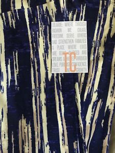 Lularoe TC Tall & Curvy Leggings Solid Blue Off White Camouflage Vertical 🦄