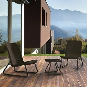 Keter Patio Outdoor Furniture Set  Side Table and Outdoor Chairs, Dark Grey