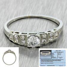 1930s Antique Art Deco 20k White Gold 0.57ctw Diamond Engagement Ring EGL $1800