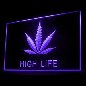 220008 Marijuana Hemp High Life Leaf medical Display LED Light Neon Sign