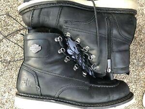 Harley-Davidson Mens Hagerman Black Motorcycle Boots D93469  Good Shape Sz 13