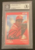 1990 Star Barry Larkin #1 BECKETT AUTHENTIC AUTOGRAPH REDS MLB HOF CINCINNATI