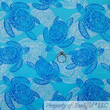 BonEful Fabric FQ Cotton Quilt Pink White Tone Sea Turtle Ocean Beach Girl Surf