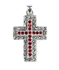Cross Marcasite Pendant with CZ Sterling Silver 925 Christian Jewelry Gift 36 mm