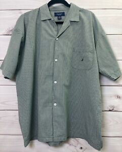 Nautica Mens Short Sleeve Button Up Sleepwear Size Large Shirt Green Checked