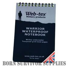 Web-tex WARRIOR WATERPROOF NOTEPAD - A6 Grid Lined Notebook, Outdoor Paper Army