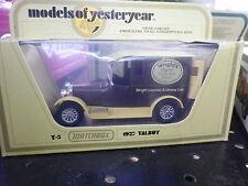 LESNEY MATCHBOX YESTERYEAR Y-5 TALBOT WRIGHT'S 1927 de 1978 neuf en boite