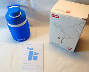 New Evxve Collapsible Silicone Water Bottle Blue Up to 18oz Travel Cup Bottle
