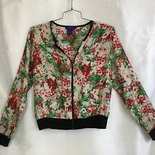 Vintage Twiggy Of London Zip Up Floral Bomber Style Jacket Blouse Size Medium