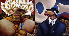 """Markus Pierson """"Art History Coyote Portraits of O'Keefe and Rivera"""" 2 on Canvas"""