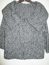 Fever Cardigan Sweater, XL, 3/4 Sleeve, Black/White/Gray, Zippered Closure
