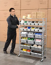 Commercial Storage Organizer System 7-Shelf 22-Bin Rack Wheels Hardware Beads