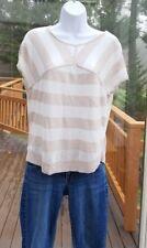 Amber Sun Linen Blend Shirt SS Striped Knit Top Cream Tan sz S EUC