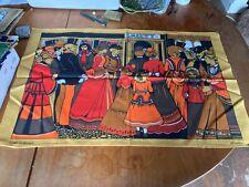 More details for vintage retro tea towels brown & orange scenic patterns x 2 new