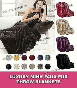 Luxury Warm Blanket Faux Fur Throw Fleece Sofa Bed Soft Mink Single Double King