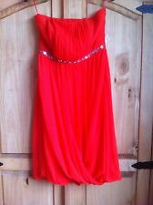 Brand New Strapless Orange Dress Size 12 Beaded Clubbing Summer Party Pleated