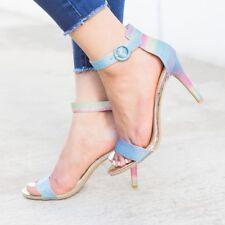 New Rainbow Glitter Open Toe Ankle Strap Med High Stiletto Heel Pump Sandal Shoe