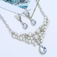 Women Gold/Silver Plated Crystal Pendant Pearl Jewelry  Necklace Earrings Sets