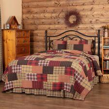 Wyatt Cotton Quilt Set King Queen Twin Sham Bedspread Plaid Patchwork Rustic