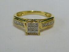 Ladies 9ct Gold 13.5pt Diamond Set Fancy Ring - Size P - Fully hallmarked -