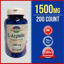 L-Arginine 1500mg/serving 200 Caps Supply Quality Made USA HIGHEST pharma Grade