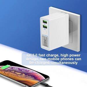 Double USB Charger White QC3.0 Charging w/ LCD Screen Display for Phone