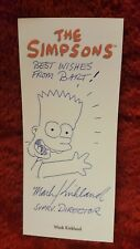 The Simpsons Signed by Director Mark Kirkland 3.5x8 SKETCH Card, Bart Best Wish