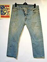 Levi's 501's Jeans Distressed Faded Hippie Boho punk Hobo Denim 36x30