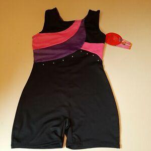 Danskin Freestyle Girls Sequined Deep Purple/Pink Biketard. Size M 7/8 Excellent