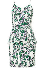 Topshop Limited Edition Strappy Green Oriental Print Peplum Dress UK 12 40 8