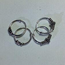 US Seller 2 pairs 925 Sterling Silver 14mm Bali Hoop Round Earrings New