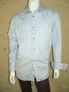 MEXX  Taille 2XL Superbe chemise manches longues rayures bleues  homme shirt