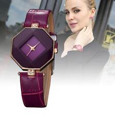 Lady Quartz Wristwatch Rhinestone Decorated Leather Watch Analog Watch Purple #O