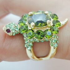 Cute Tortoise Turtle Animal Green Rhinestone Crystal Cocktail Ring Size 8 Gift