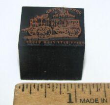 John Deere Logo Fort Smith Western Wagon Copper Wood Print Block Letterpress jd
