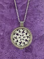 STERLINA MI MILANO NECKLACE PENDANT HOLDER SILVER CRYSTAL MONEDA CHARM DISC