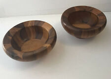 Vintage Danish Teak Salad Bowls Mid Century Set of 2