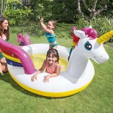 "107"" Intex Kids Inflatable Mystic Unicorn Swimming Paddling Spray Pool Garden"