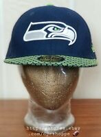 NFL Seattle Seahawks New Era 59FIFTY Men's Fitted Cap Hat - Sz 7-1/4 Pre-owned