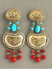 Stephen Dweck Statement earrings clip earrings bronze turquoise coral jasper
