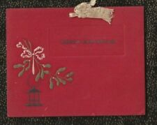 1920's Embossed and Hand-painted Christmas Card with Mistletoe & Silk Ribbon
