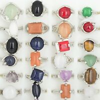 New Wholesale Jewelry Lots 10pcs Natural Stone Silver Plated Rings Free Shipping