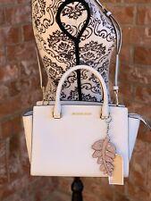 Michael Kors Selma Medium Leather Satchel Bag 35h8glms2l Optic White