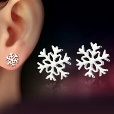 Women Silver Plated Simple Snowflake Flower Ear Studs Earrings Christmas Jewelry