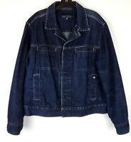 Nautica Jeans Co. Mens M Deep Navy Blue Classic Jean Jacket Motorcycle Trucker