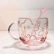New Starbucks 2020 China Sakura Cherry Blossom relief 14oz Glass Mug With stick