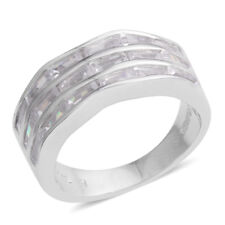 WHITE CLEAR SIMULATED DIAMOND HALF ETERNITY STERLING SILVER BAND RING SIZE 6.50