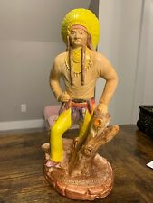 "VTG 15.5"" Scioto Ceramic Mold INDIAN CHIEF hand painted 1980/90s Folk Art Statue"
